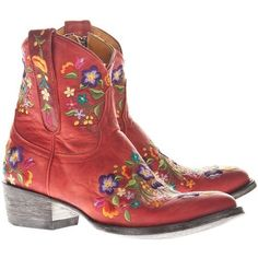 Mexicana Flowerbomb Red Embroidered Cowboy Boots
