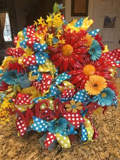 Country Crafts, Country Decor, Farmhouse Decor, Summer Wreath, 4th Of July Wreath, Dish Towel Crafts, Dish Towels, Funky Bow, Pioneer Woman Kitchen