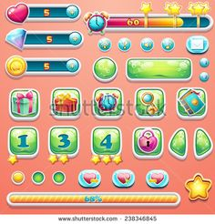 A large set of progress bars, buttons, boosters, icons for user interface design of computer games. - stock vector