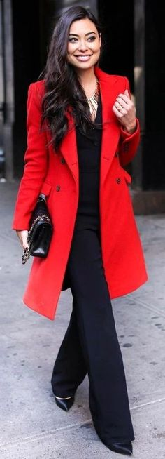 Red Coat | Black Flare Legs Jumpsuit | Black Heels | Back Chanel Bag | red And Black Casual Chic Street Style | With Love From Kat