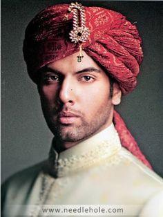 Red Turban With Tail For Groom 415 Deepak Perwani Sherwani Turban For Men Birmingham UK, Latest Shewani Turban Collection London UK Indian Man, Indian Groom, Sherwani, Mens Head Wrap, Aladdin Costume, European Men, Pakistani Bridal Wear, Wedding Groom, Hats For Men
