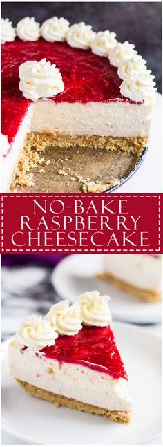 No-Bake White Chocolate Raspberry Cheesecake - Scrumptiously creamy no-bake white chocolate cheesecake infused and topped with fresh raspberry sauce and homemade whipped cream! Raspberry No Bake Cheesecake, White Chocolate Cheesecake, Raspberry Recipes, Cheesecake Recipes, Raspberry Sauce, Oreo Cheesecake, Pumpkin Cheesecake, Cake Chocolate, Classic Cheesecake