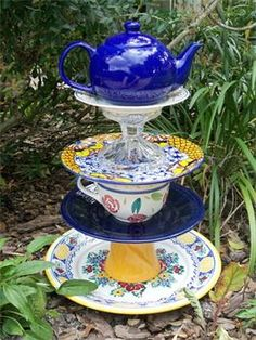 Teapot Whimsy 1 : Whimsical teapot garden totem with beach colors.