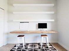 A simple and easy way to style your shelves in any area of your home. These decor items are staples in the shelf decorating game. Home Office Shelves, Desk Shelves, Home Office Space, Home Office Design, Home Office Decor, Home Decor, Desk Storage, Office Storage, Office Furniture