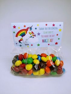 This listing is for rainbow unicorn treat bag tags! This is a perfect way to thank guests for attending your party! These tags measure 4 inches wide and 2 tall when folded (4x4 when flat). They will be shipped flat, but the crease will be added for easy folding. You can just fold and staple onto your treat bags. They are printed on 110 lb cardstock and you will receive 24 tags per order Please allow 3-5 business days for production. If you would like the tags to say something different…