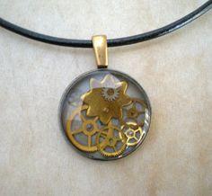Gear Necklace Brass  Steampunk Jewelry  by MaddDoggofTomorrow, $30.00