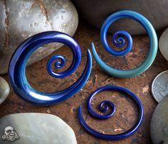 Limited  Pyrex glass mini spirals (Blue moon) Glass Heart Studio