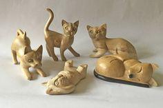 Wooden Fair Trade Cats Pack of 5 | eBay