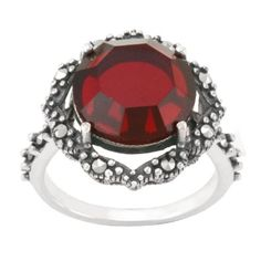 Sterling Silver Marcasite Round Garnet Color Glass Ring: Jewelry: Amazon.com Marcasite Jewelry, Glass Ring, Amethyst Color, Garnet Rings, Jewelry Rings, Jewellery, Colored Glass, Other Accessories, Projects To Try