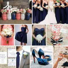 Inspiración en marino y coral para tu boda - Fotos de Tanja Lippert Photography, Vitalic Photo, Alice G Patterson Photography, Vine Light Photo