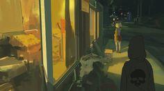 108/365 Alone at night, Atey Ghailan on ArtStation at https://www.artstation.com/artwork/lr9BG