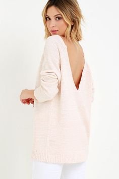 Fireside Sparks Peach Backless Sweaterat Lulus.com!