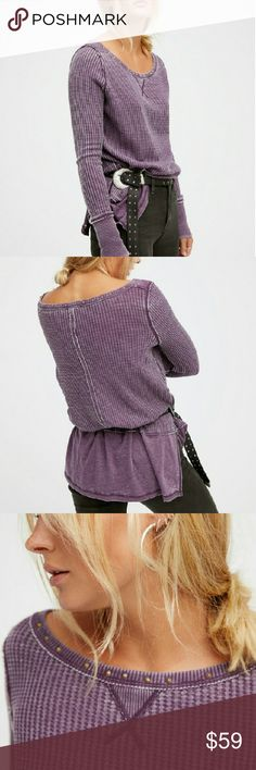 NIP 💮Free People💮 Star Thermal Brand NIP Free People Star Thermal  Soft and comfy long sleeve thermal tee featuring cute stud details around the neckline. Distressing at the seams and bottom fabric with side vents creates a layered, lived-in look. In Royal Purple.  💕 Brand NIP ~ no flaws 💕  💰 💲AVE an extra 20% off with a bundle discount💰  📨 Ships next business day 📨 Free People Tops Tees - Long Sleeve