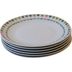 Rosenthal China Emilio Pucci Piemonte Set of 6 Salad Plates Mid Century Germany