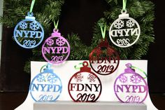 NYPD / FDNY Police/Firefighter Christmas Ornament Color Mirror with Silver Mirror Back by PremierDisplayInc on Etsy Pink Mirror, Acrylic Mirror, Blue Mirrors, Police Gifts, Firefighter Gifts, Handmade Items, Handmade Gifts, Lettering Design, Christmas Bulbs