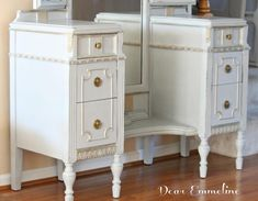 """""""Trash"""" Vanity redone in AS Paris Gray chalk paint. I have never had this kind of luck with trash! at Dear Emmeline"""