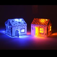 Make paper houses light up with conductive ink and LEDs from Bare Conductive. Amazingly fun to make:)