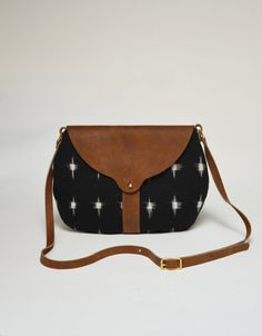 The Taplin Purse in Black and White Star Ikat, Cove Green Waxed Canvas and Whiskey Tan Leather
