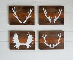 Décoration rustique bois cerf chevreuil - panache orignal - panneau bois chambre enfant - décoration chalet - ensemble serie