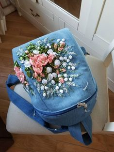 Items similar to Blue denim backpack,women's backpack, floral embroidered backpack on Etsy Embroidery Store, Embroidery Bags, Silk Ribbon Embroidery, Hand Embroidery Designs, Denim Backpack, Denim Bag, Issey Miyake, Crochet Shoulder Bags, Colorful Backpacks