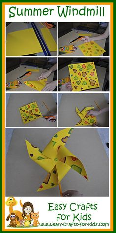 Craft Ideas For Kids Join our Crafty Critters to learn this summer windmill step by step at www.easy-crafts-for-Join our Crafty Critters to learn this summer windmill step by step at www.easy-crafts-for- Summer Camp Activities, Summer Crafts For Kids, Summer Kids, Spring Crafts, Craft Activities, Projects For Kids, Art For Kids, Summer Crafts For Preschoolers, Preschool Summer Crafts