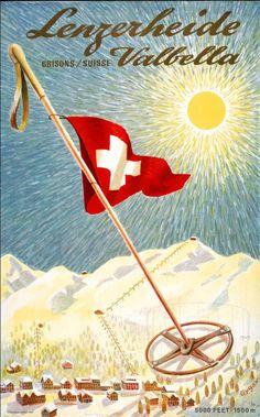 Vintage Grison/Graubunden ski poster by Franz Gygax Fürstentum Liechtenstein, Party Vintage, Vintage Ski Posters, Stations De Ski, Travel Ads, Postcard Art, Retro Illustration, New Poster, Vintage Advertisements