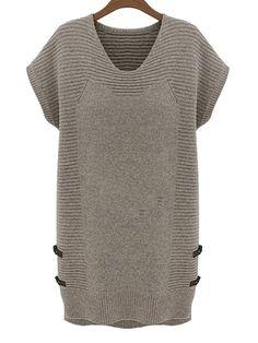 Comfortable Round Neck Plain Knitted-dress fashionmia.com