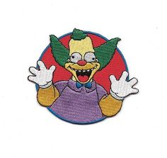 The Simpsons Krusty The Clown Laughing Face Embroidered Patch NEW UNUSED