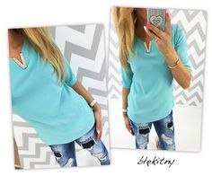 V-neck Long Sleeves Chiffon Pure Color Blouse