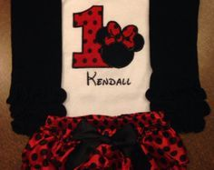 Red and black Minnie Mouse first birthday by ASweetBabyBoutique