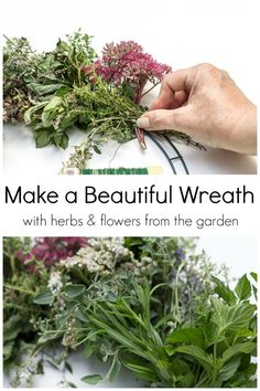 This fresh herbal wreath is easy to create and is a great way to use up many of your herbs and flowers at the end of the garden season. See how you can make your own in about 1 hour. Indoor Wreath, Outdoor Wreaths, Nature Crafts, Fall Crafts, Decorating With Herbs, Upcycled Crafts, Diy Crafts, Spring Projects, Wreath Tutorial