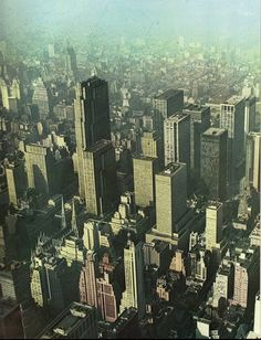 Aerial view looking southwest of Midtown Manhattan in the fall of 1965. The Rockefeller Center buildings dominated with the 70-story R.C.A. Building (Associated Architects, 1933) dominates the cityscape, at center. The modern Thisman Building (Carson & Lundin, 1957) are visible at right. All the modern skyscrapers that visible at bakground, on right, are on the Avenue of the Americas: Time & Life (Harrison & Lundin, 1959), Sperry Rand (Emery Roth & Sons, 1963), Equitable Life (Skidmore, Owin...