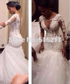Sexy Back See Though Lace Mermaid Wedding Dresses Long Sleeve Bridal Gown 2016 in Clothing, Shoes & Accessories, Wedding & Formal Occasion, Wedding Dresses | eBay
