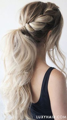 Seamless Ash Blonde Clip-Ins - : Voluminous Ponytail created using Luxy Hair Extensions in Ash Blonde Box Braids Hairstyles, Elegant Hairstyles, Straight Hairstyles, Wedding Hairstyles, Prom Hairstyles For Long Hair Curly, Low Pony Hairstyles, Spring Hairstyles, Beautiful Hairstyles, Natural Hairstyles