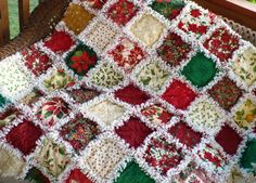 Posh Poinsettia and Holly Christmas Rag Quilt by SunflowerRagWorks, $150.00