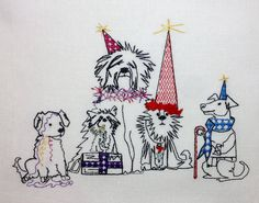 """Embroidery Designs, Christmas Dogs Embroidery, Christmas Applique, Holiday Embroidery, Holiday Applique """"Doggies Dog party"""" by NicolaElliott on Etsy"""