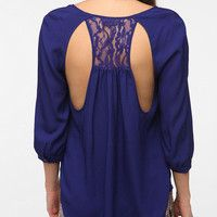 Sparkle & Fade Lace Inset Open Back Blouse