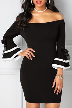 Trumpet Sleeve Off The Shoulder Black Bodycon Dress Off the Shoulder Black Flare Sleeve Sheath Dress Women's Fashion Dresses, Sexy Dresses, Casual Dresses, Fashion Clothes, Sheath Dresses, Sleeve Dresses, Mini Dresses, Trendy Dresses, Casual Wear