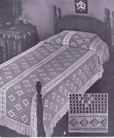 Vintage Crochet PATTERN for a Bedspread in Lacet Stitch 75 x 110 inches from…