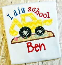 I dig school Digger Backhoe Digital  Machine by Creativeapplique