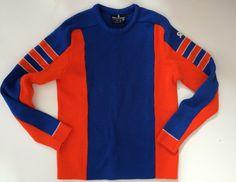 Vintage Ski Sweater Demetre - Love the Blue & Orange!! - 100% Wool - USA Made - Mens M - Very Cool Sweater by VintageByBeth on Etsy https://www.etsy.com/listing/268067911/vintage-ski-sweater-demetre-love-the