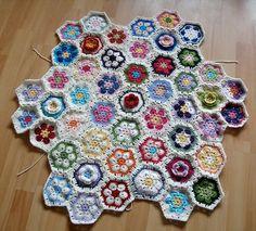 African flower blanket crochet