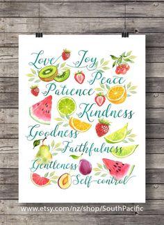 Gálatas 5:22   El fruto del espíritu   Acuarela de verano de ensalada de frutas   fruta de tipografía impresión escritura   Descarga inmediata
