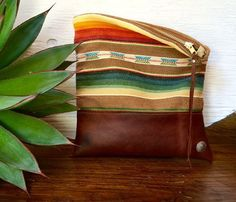 Handmade Genuine Leather Clutch with Navajo Fabric by indigosoulcompany on Etsy