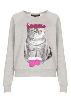 Topshop -  PETITE CHRISTMAS CAT SWEAT