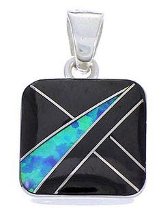 Jet And Blue Opal Slide Pendant Jewelry BW70863 http://www.silvertribe.com/