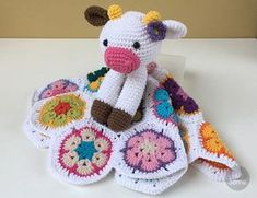 Instant download - - This listing is only a PDF PATTERN, not a finished product - Happy Cow Lovey is a soft toy and security blanket all in one! Its perfect for babys little hands and will surely become a friend for your baby. You can create something really special for your little one! Crochet Security Blanket, Crochet Lovey, Crochet Cow, Baby Security Blanket, Lovey Blanket, Crochet Blanket Patterns, Baby Blanket Crochet, Baby Patterns, Crochet Elephant