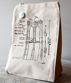 Brooklyn Bridge Lunch Bag  Wide enough for your box of homemade granola and tall enough for your chia seed smoothie.  $18 from the Brooklyn Museum Shop