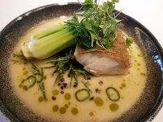 Pan-Fried Cod with Coconut and Pineapple Broth recipe by professional chef Jean-Didier Gouges  #chef #chefs #recipe #recipes #food #foods #foodie #foodies #yum #tasty #delicious #yummy #tasty #taste #flavour #cooking #cod #fish #pakchoi #ginger #shallots #onions #chilli #broth #coconut #pineapple