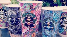 20-year-old Carrah Aldridge creates Starbucks cup art using Sharpie, white gel pen and Copic markers.